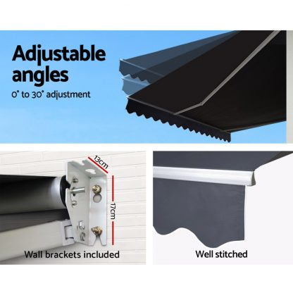Instahut Retractable Outdoor Arm Awning 3 x 2.5M - Grey