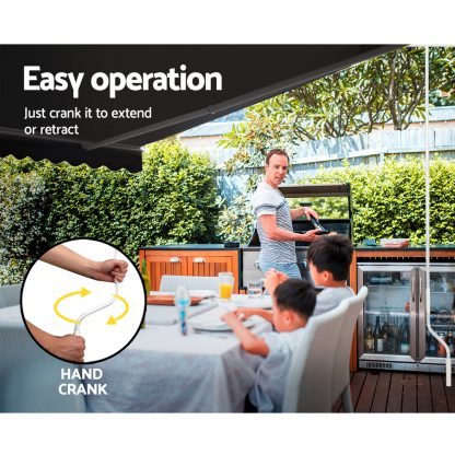 Instahut Retractable Outdoor Arm Awning 4 x 2.5M - Grey