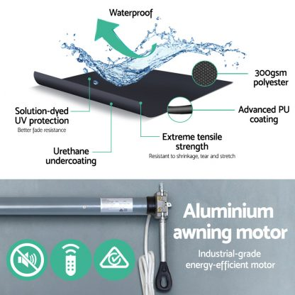 Instahut Motorised 2x1.5m Folding Arm Awning - Grey