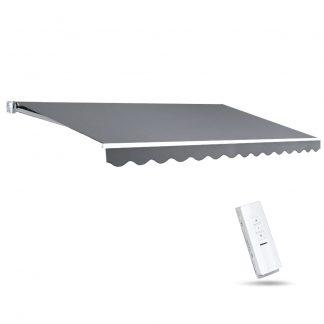 Instahut Motorised 4x2.5m Folding Arm Awning - Pearl Grey