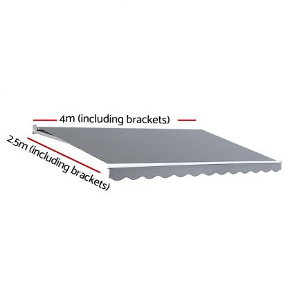Instahut Motorised 4x2.5m Folding Arm Awning - Pearl Grey