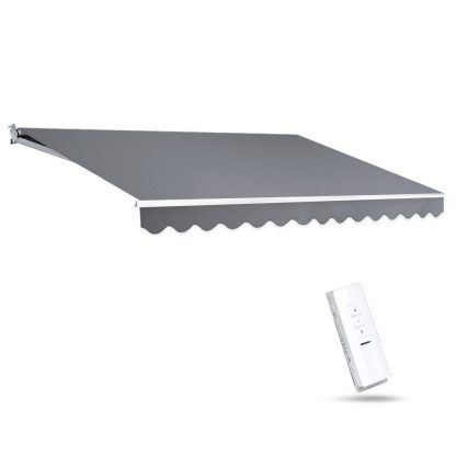 Instahut Motorised 4x3m Folding Arm Awning - Pearl Grey