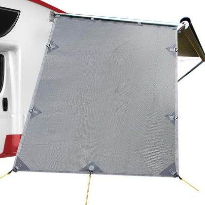 Grey Caravan Privacy Screen 1.95 x 2.2M End Wall Side Sun Shade Roll Out Awning