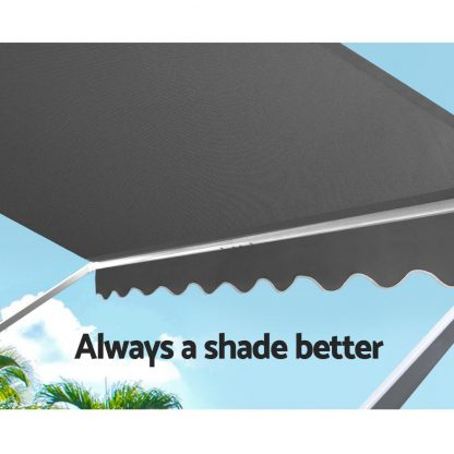 Instahut 1.5m x 2.1m Retractable Fixed Pivot Arm Awning - Grey