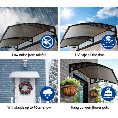 Instahut Window Door Awning Door Canopy Patio UV Sun Shield BROWN 1mx6m DIY