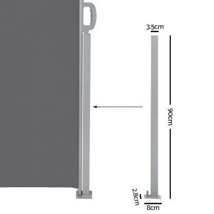 Instahut 1.8X6M Retractable Side Awning Garden Patio Shade Screen Panel Grey