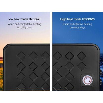 Devanti 2000W Electric Metal Panel Heater Convection Heating Timer Portable Black