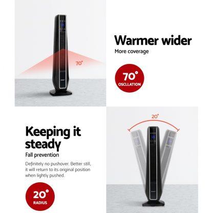 Devanti Electric Ceramic Tower Fan Heater Portable Oscillating Remote Control 2400W Black