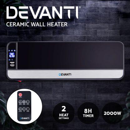 Devanti 2000W Wall Mounted Panel Heater - Black