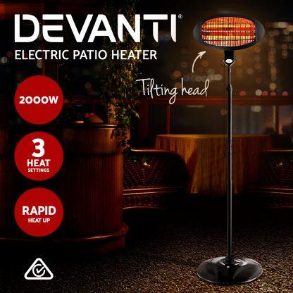 Devanti 2000w Electric Portable Patio Strip Heater