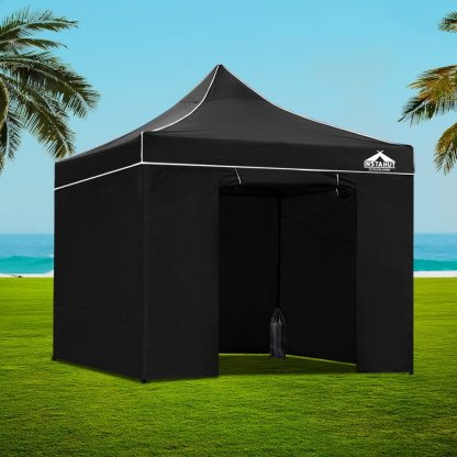 Instahut Gazebo Pop Up Marquee 3x3m Folding Wedding Tent Gazebos Shade Black