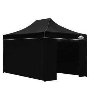 Instahut Gazebo Pop Up Marquee 3x4.5m Folding Wedding Tent Gazebos Shade Black