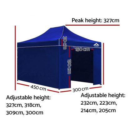 Instahut Gazebo Pop Up Marquee 3x4.5m Folding Wedding Tent Gazebos Shade Blue