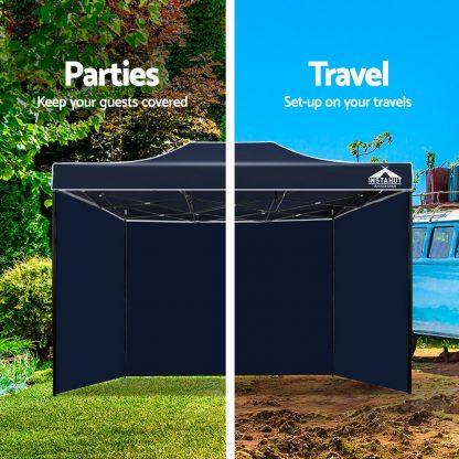 Instahut Gazebo Pop Up Marquee 3x4.5m Folding Wedding Tent Gazebos Shade Navy