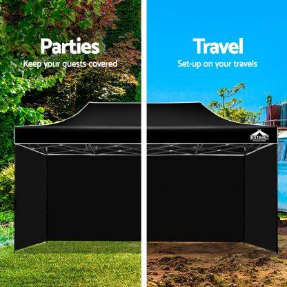 Instahut Gazebo Pop Up Marquee 3x6m Folding Wedding Tent Gazebos Shade Black
