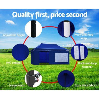 Instahut Gazebo Pop Up Marquee 3x6m Folding Wedding Tent Gazebos Shade Blue