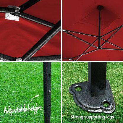 Instahut Gazebo Pop Up Marquee 3x3m Outdoor Tent Folding Wedding Gazebos Red