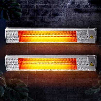 Devanti 2x 2400W Electric Radiant Strip Patio Heater Panel Halogen Bar Outdoor Indoor