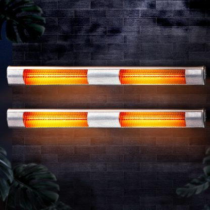 Devanti 2 x 3200W Electric Radiant Strip Patio Heater Panel Halogen Heat Bar Outdoor Indoor