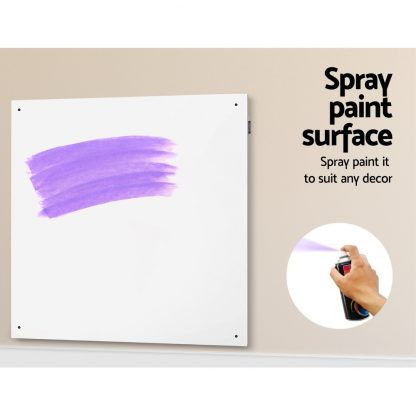 Devanti 450W Metal Wall Mount Panel Heater Infrared Slimline Portable Caravan White