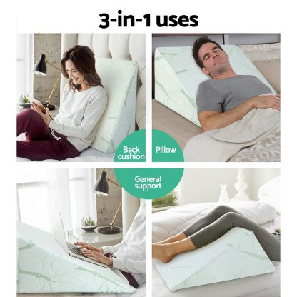 Giselle Bedding 2X Memory Foam Wedge Pillow Neck Back Support with Cover Waterproof Bamboo