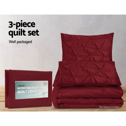 Giselle Luxury Classic Bed Duvet Doona Quilt Cover Set Hotel King Burgundy Red