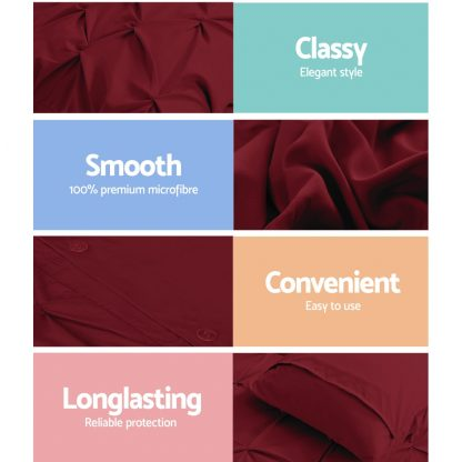 Giselle Luxury Classic Bed Duvet Doona Quilt Cover Set Hotel Super King Burgundy Red