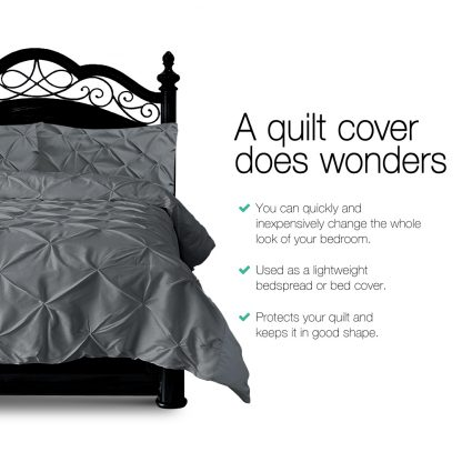 Giselle Bedding King Size Quilt Cover Set - Charcoal