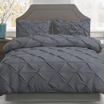 Giselle Bedding Super King Quilt Cover Set - Charcoal