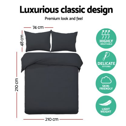 Giselle Bedding Queen Size Classic Quilt Cover Set - Black