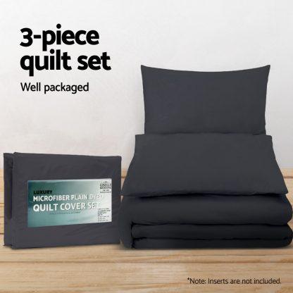 Giselle Bedding Super King Classic Quilt Cover Set - Black