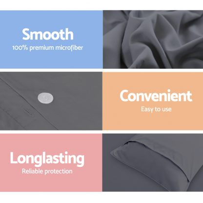 Giselle Bedding Super King Size Classic Quilt Cover Set - Charcoal