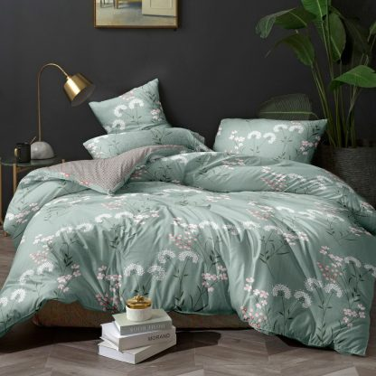 Giselle Bedding Quilt Cover Set King Bed Doona Duvet Reversible Sets Flower Pattern Green
