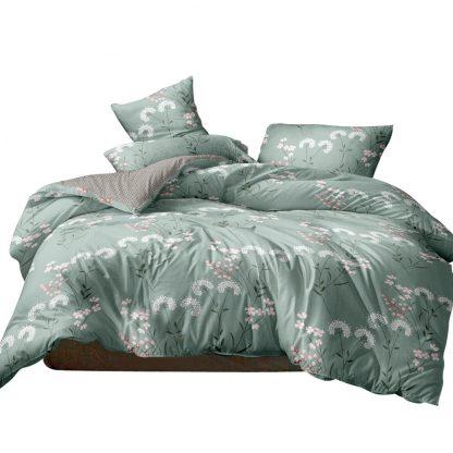 Giselle Bedding Quilt Cover Set Queen Bed Doona Duvet Reversible Sets Flower Pattern Green