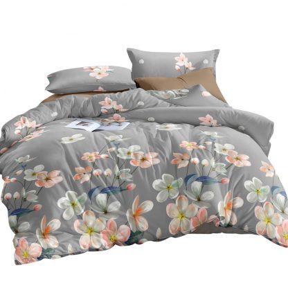 Giselle Bedding Quilt Cover Set Queen Bed Doona Duvet Reversible Sets Flower Pattern Grey