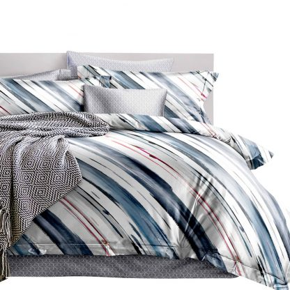 Giselle Bedding Quilt Cover Set King Bed Doona Duvet Reversible Sets Stripe Pattern
