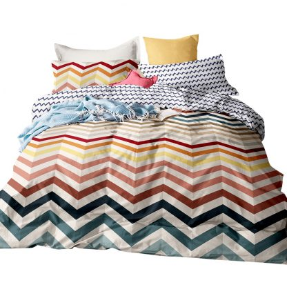 Giselle Bedding Quilt Cover Set Queen Bed Doona Duvet Reversible Sets Wave Pattern Colourful