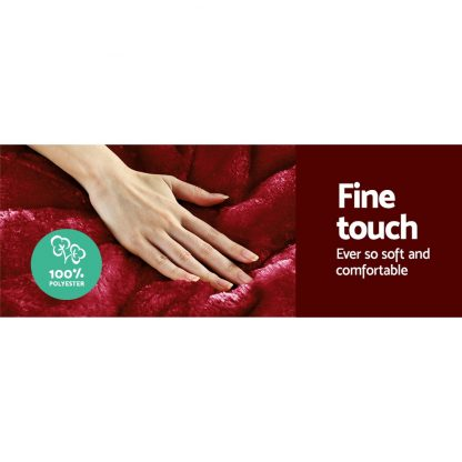 Giselle Bedding Faux Mink Quilt Comforter Throw Blanket Winter Burgundy Queen