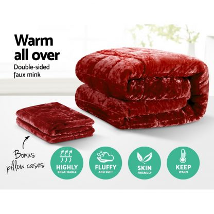 Giselle Bedding Faux Mink Quilt Comforter Fleece Throw Blanket Doona Burgundy Super King