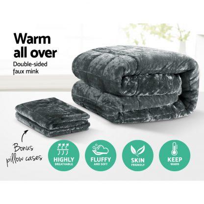 Giselle Bedding Faux Mink Quilt Fleece Throw Blanket Comforter Charcoal King