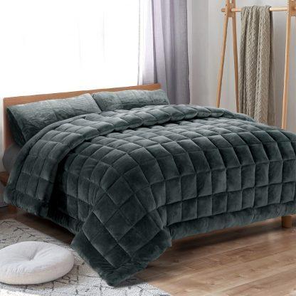 Giselle Bedding Faux Mink Quilt Fleece Throw Blanket Comforter Duvet Charcoal Single