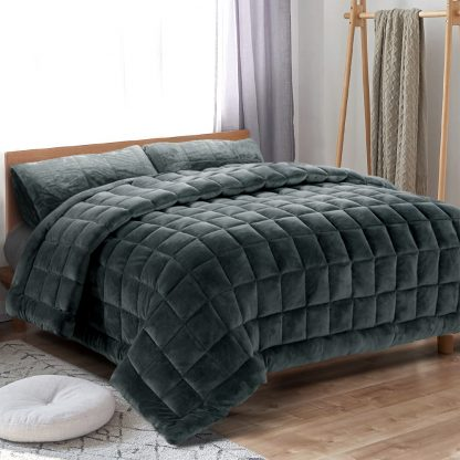 Giselle Bedding Faux Mink Quilt Comforter Fleece Throw Blanket Doona Charcoal Super King