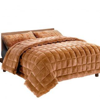 Giselle Bedding Faux Mink Quilt Comforter Fleece Throw Blanket Doona Latte King