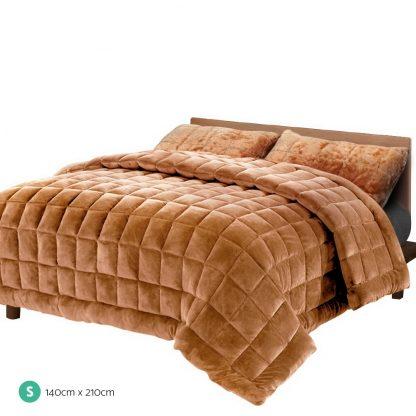 Giselle Bedding Faux Mink Quilt Comforter Fleece Throw Blanket Latte Single