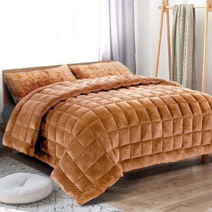 Giselle Bedding Faux Mink Quilt Comforter Fleece Throw Blanket Doona Latte Super King
