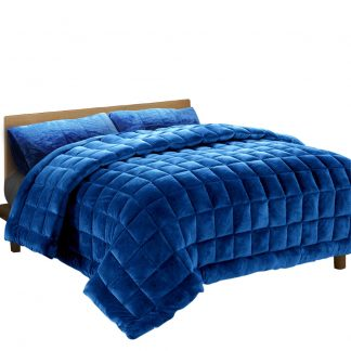 Giselle Bedding Faux Mink Quilt Comforter Doona Fleece Throw Blanket Navy Queen