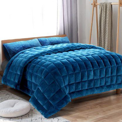 Giselle Bedding Faux Mink Quilt Comforter Doona Fleece Throw Blanket Navy Queen