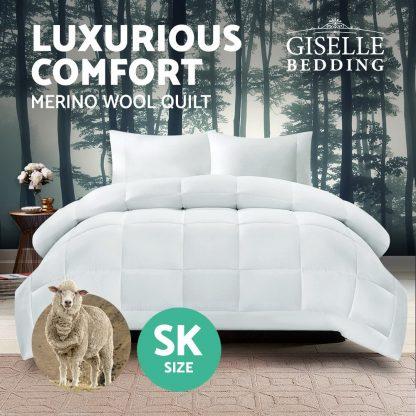 Giselle Bedding Super King Size Merino Wool Duvet Quilt