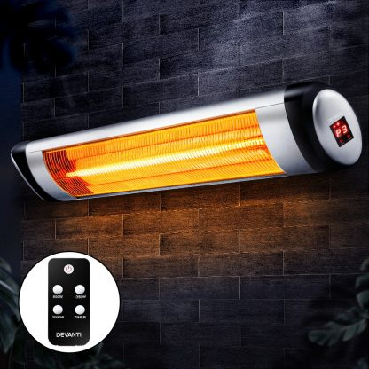 Devanti Electric Radiant Heater Patio Strip Heaters Infrared Indoor Outdoor Patio Remote Control 2000W