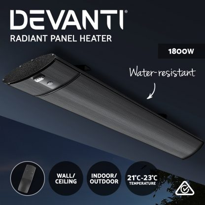 Devanti Electric Radiant Strip Heater Outdoor 1800W Panel Heater Bar Home Remote Control